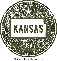 A distressed vintage style stamp featuring the state of Kansas