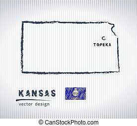 Kansas vector chalk drawing map isolated on a white background