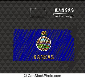 Kansas vector sketch chalk  map
