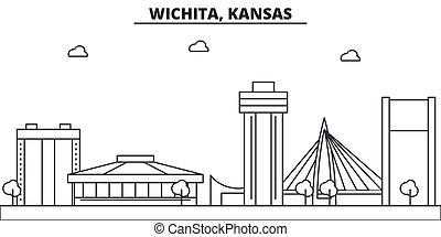 Kansas, Wichita architecture line skyline illustration....