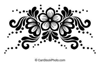 kant, bladeren, vrijstaand, element, black , white., floral ontwerpen, witte bloemen, style., retro