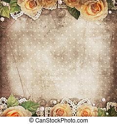 kant, rozen, achtergrond, mooi, parels, ouderwetse