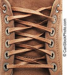 kant, textuur, van, schoen
