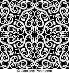 kantachtig, achtergrond., arabische , textured, stijl, lijnen, bochten, ornament, achtergrond., borduurwerk, vector, bloemen, grunge, floral, textuur, seamless, herhalen, swirls, arabesk, paisley, tapestry, pattern., dots.