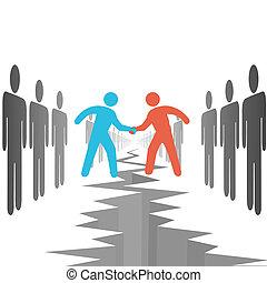 kanten, overeenkomen, overeenkomst, delen, mensen