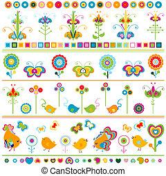 kanter, cute, elementer, farverig