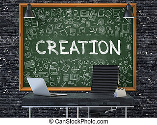 kantoor., creatie, chalkboard