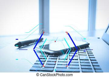 kantoor, draagbare computer, schrijfstift, telefoon, hout, werkplaats, tafel, smart