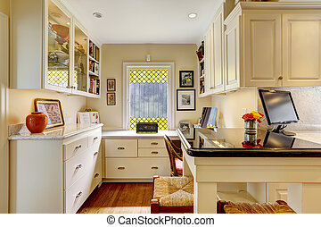 kantoor, gebied, met, witte , meubel, set