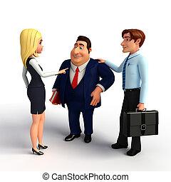 kantoor., groep, zakenlui