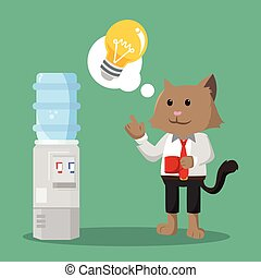 kantoor, idee, hebben, kat