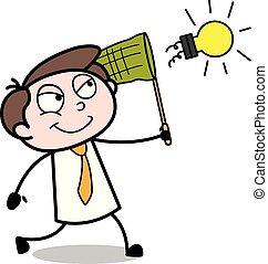 kantoor, -, illustratie, vangen, vector, bol, werknemer, zakenman, het proberen, spotprent