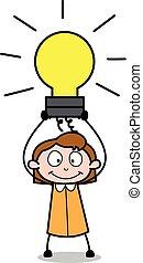 kantoor, -, illustratie, vector, retro, vasthouden, werknemer, bol, meisje, spotprent