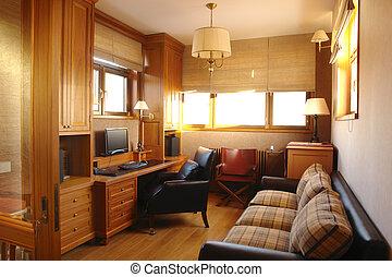 kantoor, kamer, interieur, levend, thuis