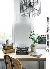 kantoor, kamer, met, bureau