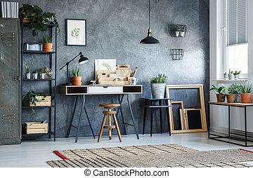 kantoor, kamer, met, grijze , muur