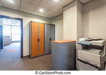 kantoor, kamer, met, xerox machine