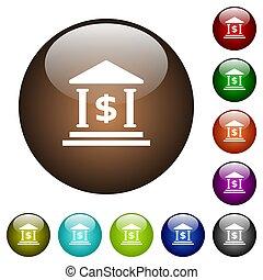 kantoor, kleur, dollar, knopen, glas, bank