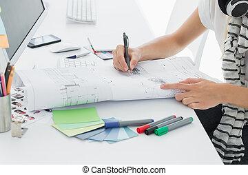kantoor, kunstenaar, pen, papier, iets, tekening