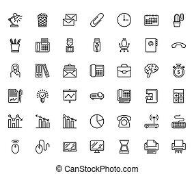 kantoor, lijn, iconen