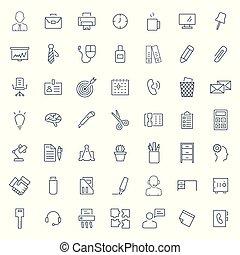 kantoor, lijn, vector, pictogram, set, mager, style., symbols., illustration.