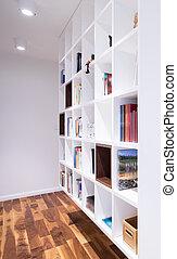 kantoor, met, bibliotheek