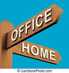 kantoor, of, thuis, richtingen, op, een, wegwijzer
