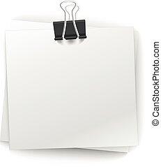 kantoor, papier, stapel, met, spelden, vrijstaand, op wit