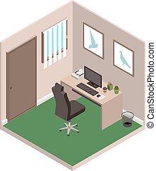 kantoor, persoonlijk, studeren, particulier, room.,...