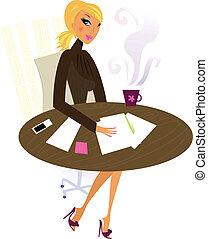 kantoor, professionele vrouw, in, werken