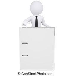 kantoor, punten, vinger, map, man, witte , 3d