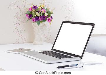 kantoor, scherm, bureau, computer, leeg, draagbare computer