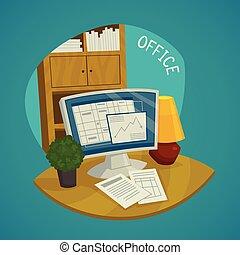 kantoor, set, conceptontwikkeling