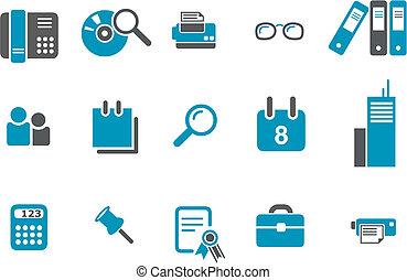 kantoor, set, pictogram