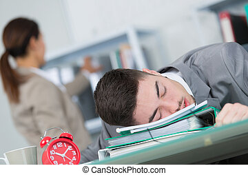kantoor, slapende, zakenman, moe, jonge
