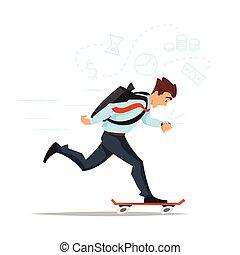 kantoor., spoed het maken, skateboard, zakenman