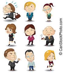 kantoor, spotprent, pictogram, werkmannen