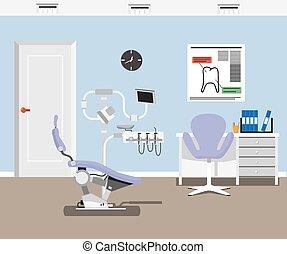 kantoor, tandarts, ontwerp, illustratie, plat, achtergrond.