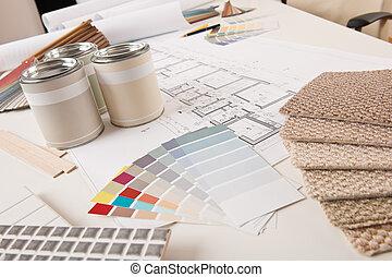 kantoor, van, binnenlandse ontwerper, met, verf , en, kleur...