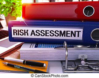 kantoor, verantwoordelijkheid, image., schating, toned, folder., blauwe