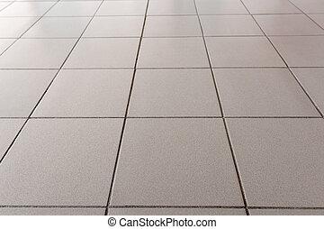 kantoor, vloer, is, lined, met, grijs, tegels