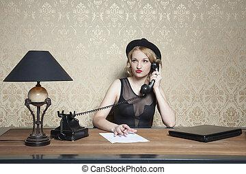 kantoor, vrouw, arbeidzaam, zakelijk