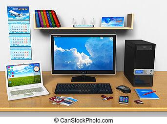 kantoor, werkplaats, met, desktop computer, draagbare...