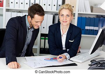 kantoor, zakelijk, bureau, grafieken, team, smart