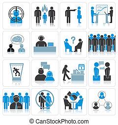 kantoor, zakelijk, icons., management, en, verhouding