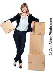 kantoor, zakelijk, ruimte, verhuis, uitvoerend, haar