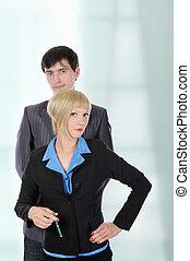 kantoor., zakenlieden, vrouwen