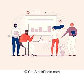 kantoor, zakenlui, plan, team, het bespreken
