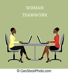 kantoor, zakenlui, werkmannen , zittende , tafel, of