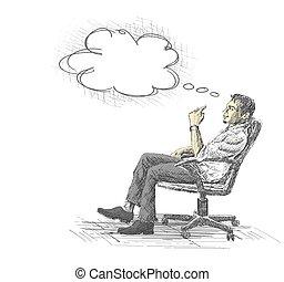 kantoor, zittende , jonge, nadenkend, chair., zakenman